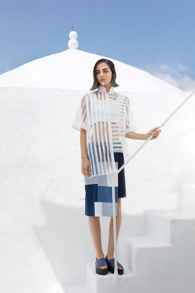 Asymmetrical mandarin shirt w/ short sleeves - Mini knit top - Asymmetrical patchwork skirt